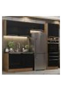 Cozinha Completa Madesa Lux 260005 Com Armário E Balcão - Rustic/Preto