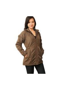 Casaco Acolchoado Feminino Plus Size Com Elástico Na Cintura Tamanhos 48 A 54 Inverno Marrom