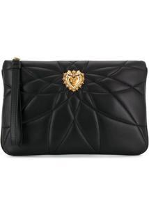 Dolce & Gabbana Clutch Matelassê Com Coração - Preto