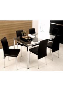 Conjunto De Mesa Com 6 Cadeiras Bia Couríssimo Preto