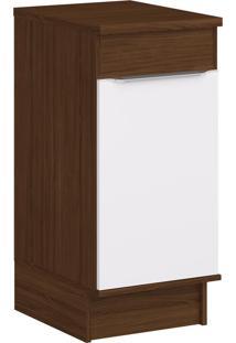 Armário De Cozinha 1 Porta Com Rodapés Cs602R Cacau/Branco - Decibal Móveis