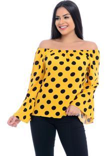 Blusa Ciganinha B'Bonnie Viscose Ligya Amarelo Poá - Tricae
