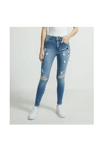 Calça Skinny Cropped Jeans Com Puídos