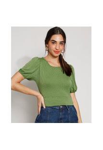 Blusa Feminina Manga Bufante Texturizada Com Vazado E Nó Decote Redondo Verde