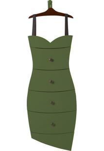 Cômoda Suspensa 4 Gavetas Dress 1081 Cacau/Verde Musgo - Maxima