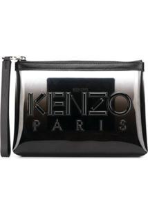 Kenzo Clutch Com Logo E Recorte Translúcido - Preto