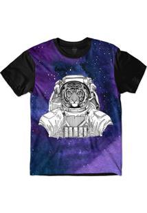 Camiseta Insane 10 Animal Astronauta Tigre No Espaço Sublimada Azul