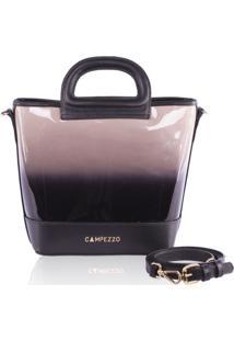 Bucket Bag Campezzo Couro Verniz Degrad㪠Lassie - Multicolorido//Preto - Feminino - Dafiti