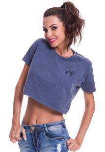 Camiseta Cropped Jazz Brasil Basica Azul - Kanui