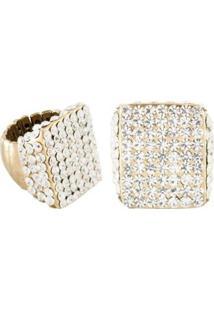 Anel Armazem Rr Bijoux Regulável Cristal Transparente Quadrado - Feminino-Dourado
