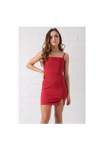 Vestido Curto Decote Reto Com Fenda Vermelho