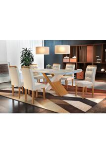 Conjunto De Mesa De Jantar Com 6 Cadeiras Imperatriz Veludo Creme Com Imbuia E Off White