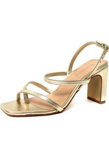 Sandália Damannu Shoes Metalizada Cora Feminina - Feminino-Dourado