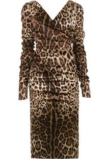Dolce & Gabbana Vestido Midi Animal Print - Marrom