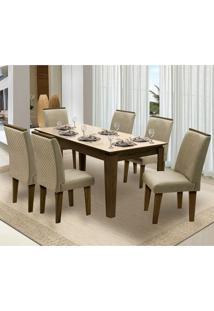 Mesa Para Sala De Jantar Saint Michel Com 6 Cadeiras – Dobuê Movelaria - Castanho / Bege / Bege
