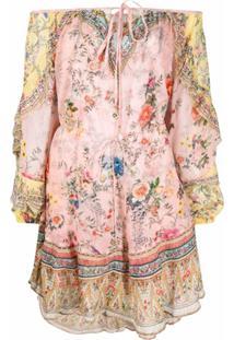 Camilla Vestido Com Estampa Floral E Ombro Deslocados - Rosa