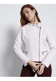Jaqueta Maquinetada Com Recortes- Rosa Clarolez A Lez