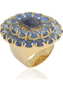 Anel Matteo Flor De Cristal Azul