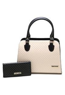 Bolsa Feminina Bicolor Mais Carteira Metalassê, Com Alça Transversal Santorini Handbag Preto/Creme