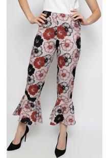 a94bbcbab ... Calça Pantacourt Floral Com Babados- Marrom   Preta-Bless
