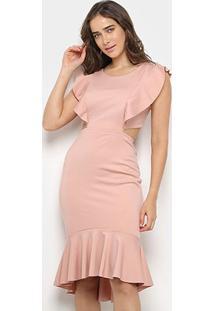 Vestido Mercatto Midi Babados Recortes - Feminino-Rosa