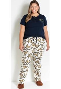 Pijama Longo Plus Size Marinho E Cordas
