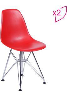 Jogo De Cadeiras Eames Dkr- Vermelho & Prateado- 2Pã§Or Design
