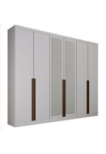Guarda-Roupa Casal Com Espelho 6 Portas E Gavetas 6 Macau-Novo Horizonte - Branco