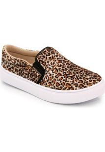 Sapatilha Slip On Ec Shoes Feminina - Feminino-Marrom