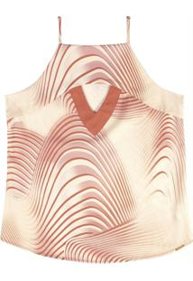 Blusa Estampada Com Decote Reto Laranja