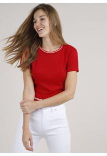 1338901da Blusa Cropped Vermelha feminina