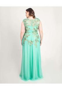 Vestido Almaria Plus Size Pianeta Longo Renda Verd