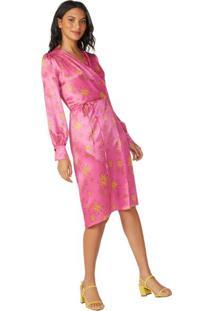 Vestido Wrap De Cetim Estampado