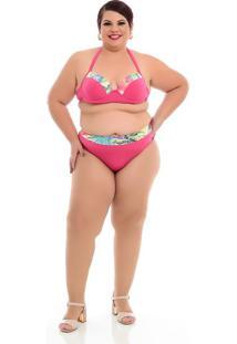 Biquíni Rosa Folhagens Plus Size