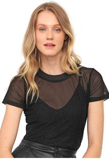 Camiseta Colcci Tule Glitter Preta