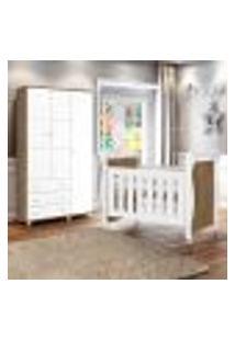 Berço E Guarda Roupa De Bebe Branco Amendoa 3 Portas Ariel/Ceci