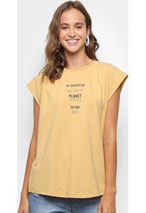 Blusa Colcci Estampada Feminina - Feminino-Amarelo