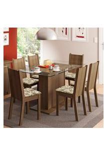 Conjunto Sala De Jantar Madesa Gales Mesa Tampo De Vidro Com 6 Cadeiras - Rustic/Lírio Bege Marrom