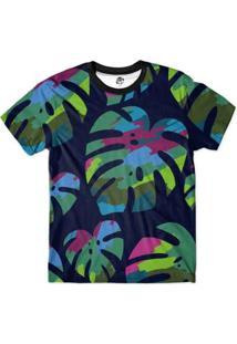 Camiseta Bsc Floral Full Print Masculina - Masculino-Azul