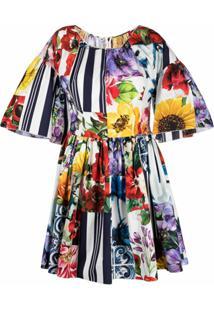 Dolce & Gabbana Vestido Com Estampa Floral E Listras - Neutro