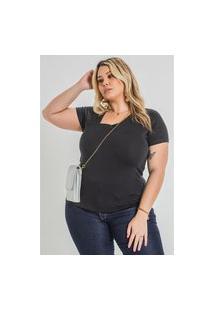 Blusa Lisa Decote Assimétrico Plus Size Preto Blusa Lisa Decote Assimétrico Plus Size Preto Ex Kaue Plus Size