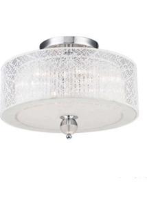 Plafon Lace Cristal 55X21Cm Para 4 Lâmpadas E27 60W Branco Bronzearte