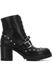 Tosca Blu Ankle Boot De Couro Com Fivela - Preto