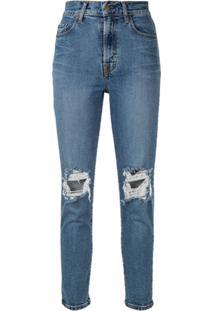Nobody Denim Calça Jeans Com Acabamento Puído - Azul