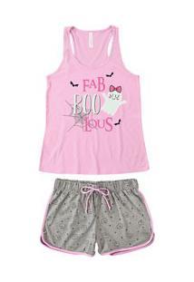 Pijama Curto Regata Fantasma Malwee Liberta (1000059844) Rosa - Algodão