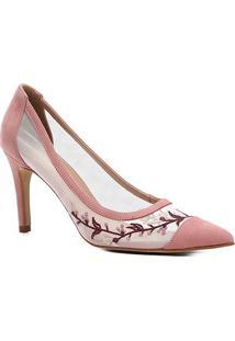 Scarpin Couro Shoestock Salto Alto Tela Bordado