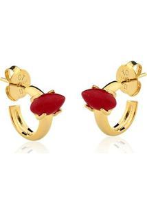 Brinco Toque De Joia Mini Argola Navete Pedra Pequena Jade Vermelha - Feminino-Dourado