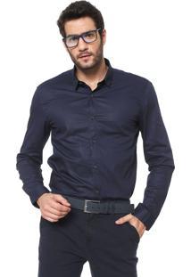 Camisa Calvin Klein Jeans Slim Lisa Azul-Marinho