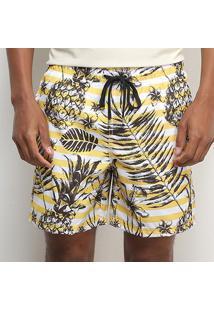 Bermuda Aleatory Pineapple Listras Masculina - Masculino-Branco+Amarelo