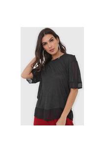 Camiseta Open Style Recortes Preta